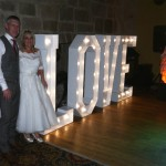 Giant Illuminated LOVE Letters At Langley Castle Hotel