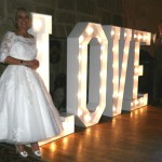 Illuminated LOVE Letters At Langley Castle Hotel