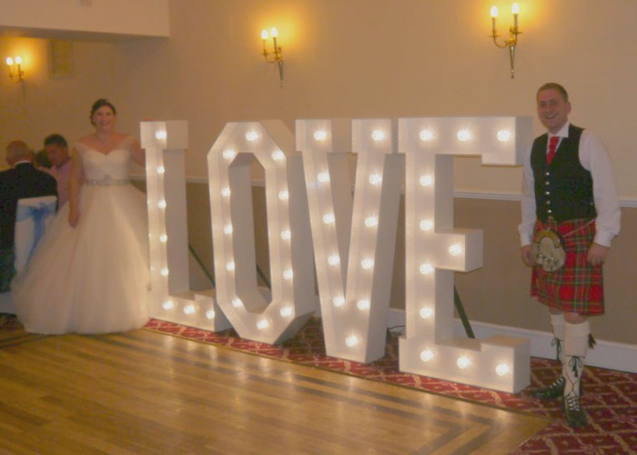 COUNTY DURHAM WEDDING DJ AT THE EDEN ARMS HOTEL (RUSHYFORD) WITH OUR GIANT ILLUMINATED LOVE LETTERS FOR MICHELLE & CAMPBELL